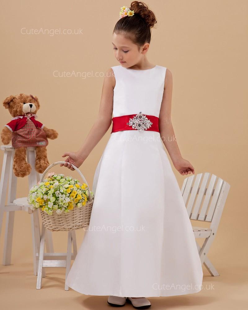 Cheap Amazing White Floor Length Organza Flower Girl Dress