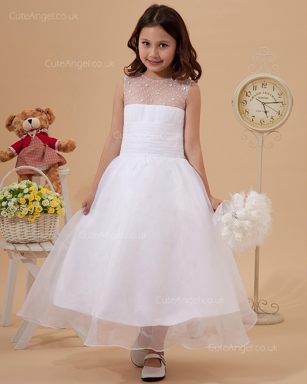 Elegant Best White Tea Length Beading Flower Girl Dress Cuteangel