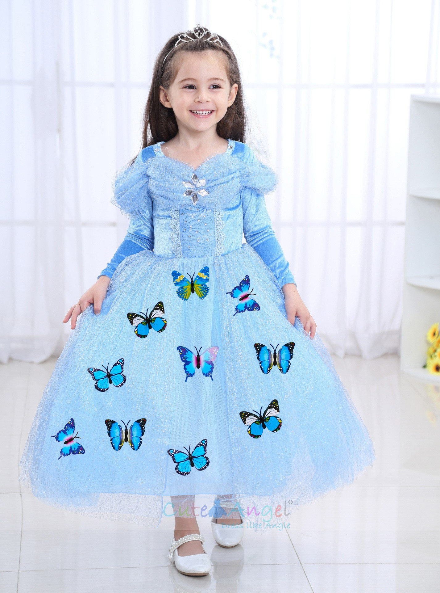 Girl Dress Cinderella Princess Costume Blue Butterfly Dress Long Grown Halloween