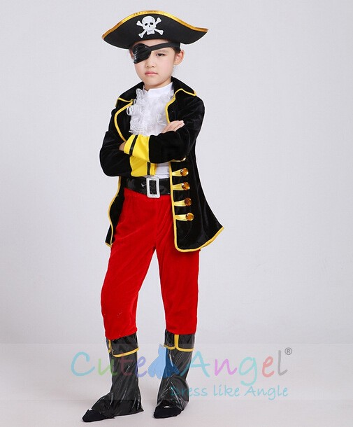 Costume Halloween Uk.One Eyed Pirate Suit Children Cartoon Captain Jack Costumes
