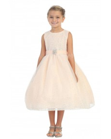 Girls Dress Style 060218 Pearl Pink Tea-length Sequin , Beading Bateau A-line Dress in Choice of Colour
