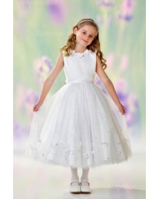 Girls Dress Style 0610218 Ivory Ankle Length hand Made Flower Round A-line Dress in Choice of Colour