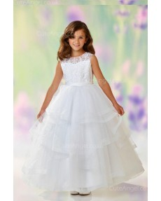 Girls Dress Style 0611118 White Floor-length Lace Round A-line Dress in Choice of Colour