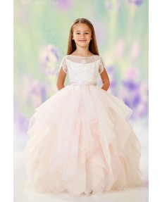 Girls Dress Style 0611618 Candy Pink Floor-length Tiered Bateau A-line Dress in Choice of Colour