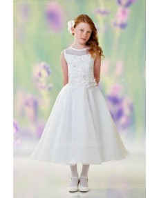 Girls Dress Style 0611718 Ivory Tea-length Lace , Beading , Applique Round A-line Dress in Choice of Colour