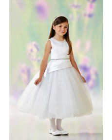 Girls Dress Style 0611818 Ivory Tea-length Beading Round A-line Dress in Choice of Colour