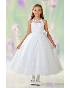 Girls Dress Style 0612118 Ivory Tea-length Hand Made Flower Square A-line Dress in Choice of Colour