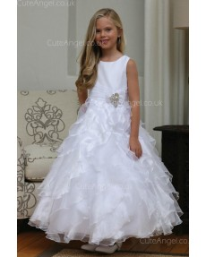 Girls Dress Style 061218  Floor-length Tiered , Bowknot Bateau A-line Dress in Choice of Colour