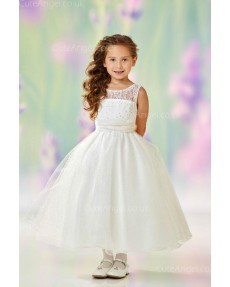 Girls Dress Style 0612418 Ivory Tea-length Beading Bateau A-line Dress in Choice of Colour