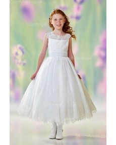 Girls Dress Style 0612618 Ivory Tea-length Lace Bateau A-line Dress in Choice of Colour