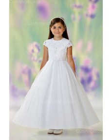 Girls Dress Style 0612918 Ivory Floor-length Lace , Beading , Applique Round A-line Dress in Choice of Colour
