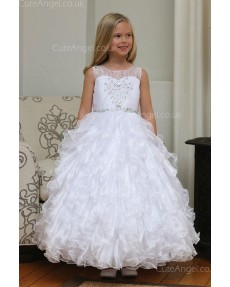 Girls Dress Style 061318 White Floor-length Tiered , Bowknot , Beading Bateau A-line Dress in Choice of Colour