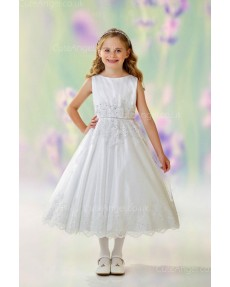 Girls Dress Style 0613218 Ivory Tea-length Lace Bateau A-line Dress in Choice of Colour