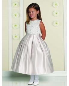 Girls Dress Style 0613318 Ivory Tea-length Lace Bateau A-line Dress in Choice of Colour