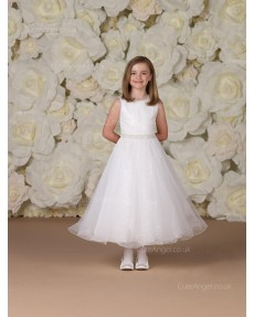 Girls Dress Style 0613718 Ivory Ankle Length Sash Bateau A-line Dress in Choice of Colour
