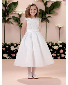 Girls Dress Style 0613818 Ivory Tea-length Hand Made Flower Bateau A-line Dress in Choice of Colour