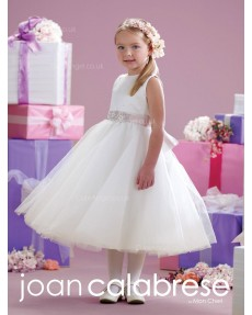Girls Dress Style 0614018 Ivory Tea-length Beading Round A-line Dress in Choice of Colour