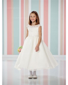 Girls Dress Style 0614118 Ivory Tea-length Beading Bateau A-line Dress in Choice of Colour