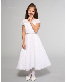 Girls Dress Style 0614218 White Tea-length Beading Round A-line Dress in Choice of Colour
