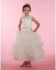 Girls Dress Style 0614518 Champagne Ankle Length Lace , Beading , Tiered Bateau A-line Dress in Choice of Colour