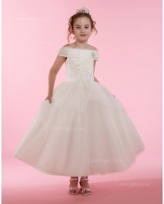 Girls Dress Style 0614718 Ivory Ankle Length Lace , Beading Off-the-shoulder A-line Dress in Choice of Colour