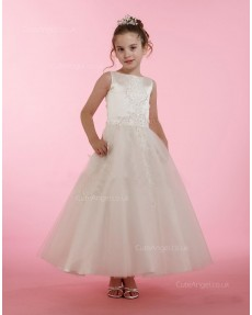 Girls Dress Style 0614918 Ivory Ankle Length Lace Bateau A-line Dress in Choice of Colour