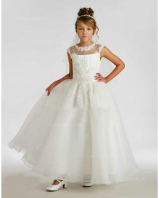 Girls Dress Style 0615418 Ivory Floor-length Lace , Beading Round A-line Dress in Choice of Colour