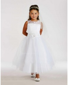 Girls Dress Style 0616018 White Ankle Length Applique Bateau A-line Dress in Choice of Colour