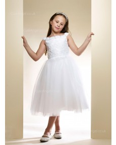 Girls Dress Style 0616118 White Tea-length Lace Bateau A-line Dress in Choice of Colour