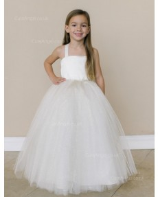 Girls Dress Style 0616218 White Floor-length Beading Square Ball Gown Dress in Choice of Colour