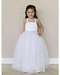 Girls Dress Style 0616318 White Floor-length Beading Square Ball Gown Dress in Choice of Colour
