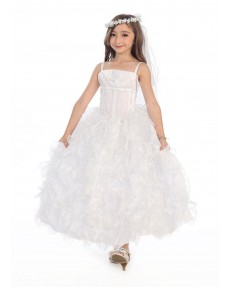 Girls Dress Style 0616418 Ivory Floor-length Crystal Square Ball Gown Dress in Choice of Colour
