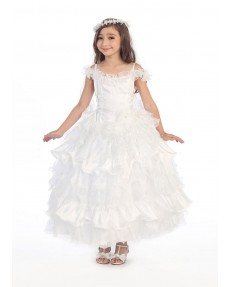 Girls Dress Style 0616618 Ivory Ankle Length Layers Bateau Ball Gown Dress in Choice of Colour