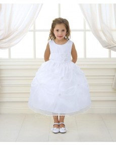 Girls Dress Style 0617018 Ivory Ankle Length Hand Made Flower Bateau A-line Dress in Choice of Colour