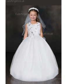 Girls Dress Style 0617218 Ivory Floor-length Applique Round A-line Dress in Choice of Colour