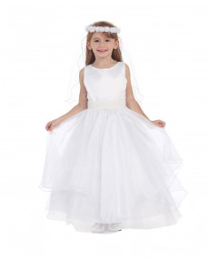 Girls Dress Style 0617318 Ivory Floor-length Belt Bateau A-line Dress in Choice of Colour