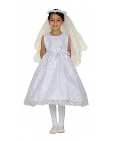 Girls Dress Style 0617518 Ivory Tea-length Hand Made Flower Round A-line Dress in Choice of Colour