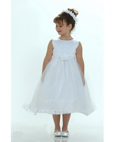 Girls Dress Style 0617718 Ivory Tea-length Lace , Hand Made Flower Round A-line Dress in Choice of Colour
