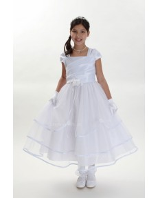 Girls Dress Style 0617818 Ivory Tea-length Hand Made Flower Square A-line Dress in Choice of Colour