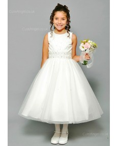 Girls Dress Style 0617918 Ivory Tea-length Beading Round A-line Dress in Choice of Colour