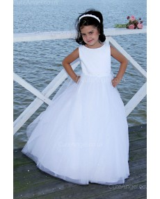 Girls Dress Style 0618018 Ivory Floor-length Beading Round A-line Dress in Choice of Colour