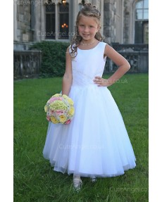 Girls Dress Style 0618118 Ivory Floor-length Beading , Bowknot Bateau A-line Dress in Choice of Colour