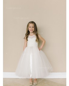 Girls Dress Style 0618418 Ivory Ankle Length Lace Round A-line Dress in Choice of Colour