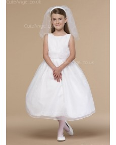 Girls Dress Style 0618518 Ivory Tea-length hand Made Flower Bateau A-line Dress in Choice of Colour