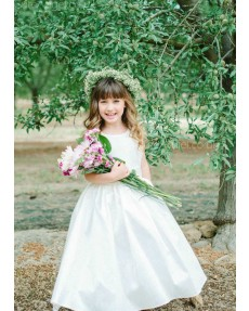 Girls Dress Style 0619018 Ivory Floor-length Lace , Bowknot Bateau A-line Dress in Choice of Colour