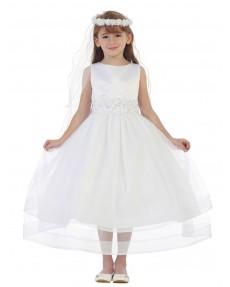 Girls Dress Style 0619618 Ivory Tea-length Beading Bateau A-line Dress in Choice of Colour