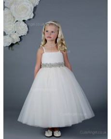 Girls Dress Style 0619818 Ivory Ankle Length Beading Bateau A-line Dress in Choice of Colour