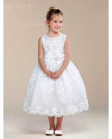 Girls Dress Style 0620018 Ivory Tea-length Hand Made Flower Round A-line Dress in Choice of Colour