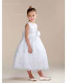 Girls Dress Style 0620218 Ivory Tea-length Hand Made Flower Round A-line Dress in Choice of Colour