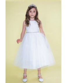 Girls Dress Style 0620318 White Tea-length Beading Bateau A-line Dress in Choice of Colour